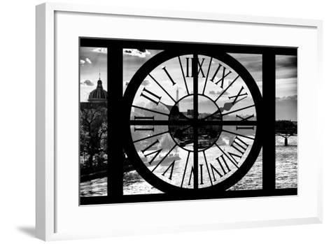 Giant Clock Window - View of the River Seine and the Eiffel Tower at Sunrise in Paris-Philippe Hugonnard-Framed Art Print