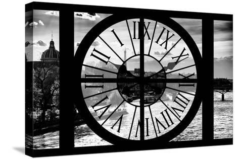 Giant Clock Window - View of the River Seine and the Eiffel Tower at Sunrise in Paris-Philippe Hugonnard-Stretched Canvas Print