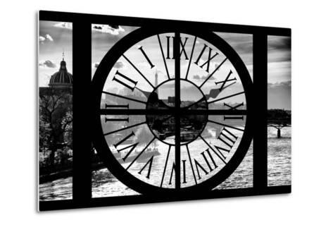 Giant Clock Window - View of the River Seine and the Eiffel Tower at Sunrise in Paris-Philippe Hugonnard-Metal Print