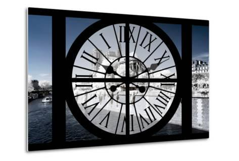 Giant Clock Window - View of Notre Dame Cathedral with White Trees - Paris III-Philippe Hugonnard-Metal Print