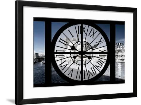 Giant Clock Window - View of Notre Dame Cathedral with White Trees - Paris III-Philippe Hugonnard-Framed Art Print