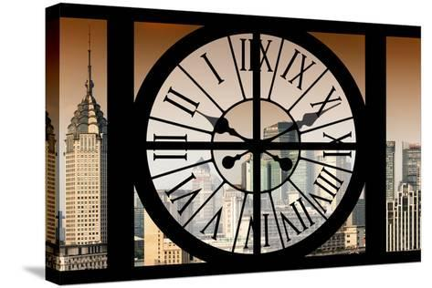 Giant Clock Window - View of Shanghai at Sunset - China-Philippe Hugonnard-Stretched Canvas Print