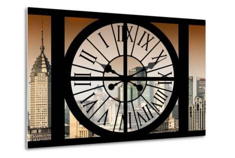 Giant Clock Window - View of Shanghai at Sunset - China-Philippe Hugonnard-Metal Print