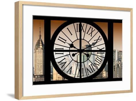 Giant Clock Window - View of Shanghai at Sunset - China-Philippe Hugonnard-Framed Art Print