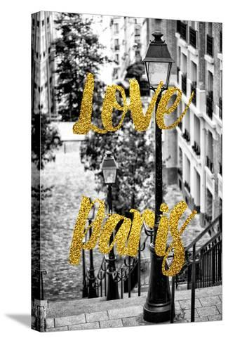 Paris Fashion Series - Love Paris - Stairs of Montmartre-Philippe Hugonnard-Stretched Canvas Print