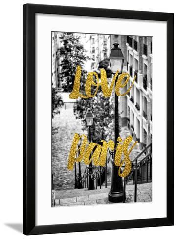 Paris Fashion Series - Love Paris - Stairs of Montmartre-Philippe Hugonnard-Framed Art Print