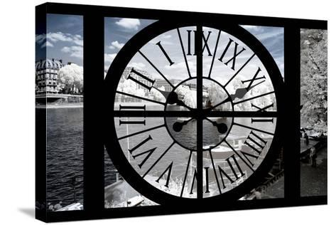 Giant Clock Window - View of the River Seine with White Trees - Paris II-Philippe Hugonnard-Stretched Canvas Print
