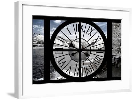 Giant Clock Window - View of the River Seine with White Trees - Paris II-Philippe Hugonnard-Framed Art Print