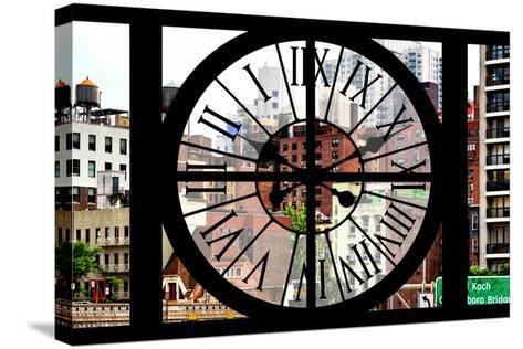 Giant Clock Window - View of the Buildings of Sutton Place - New York-Philippe Hugonnard-Stretched Canvas Print