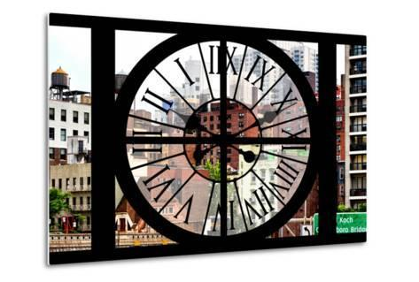 Giant Clock Window - View of the Buildings of Sutton Place - New York-Philippe Hugonnard-Metal Print