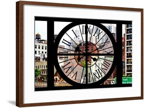 Giant Clock Window - View of the Buildings of Sutton Place - New York-Philippe Hugonnard-Framed Art Print