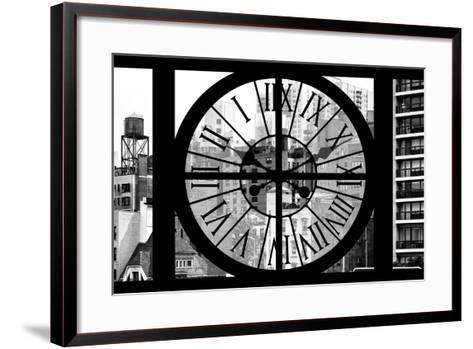 Giant Clock Window - View of the Buildings of Sutton Place - New York II-Philippe Hugonnard-Framed Art Print