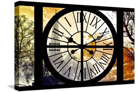 Giant Clock Window - View of the Eiffel Tower at Sunrise - Paris-Philippe Hugonnard-Stretched Canvas Print