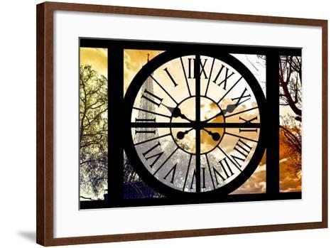 Giant Clock Window - View of the Eiffel Tower at Sunrise - Paris-Philippe Hugonnard-Framed Art Print