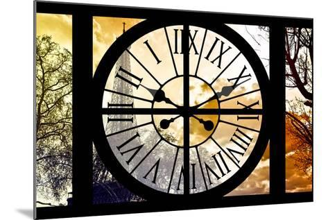 Giant Clock Window - View of the Eiffel Tower at Sunrise - Paris-Philippe Hugonnard-Mounted Photographic Print