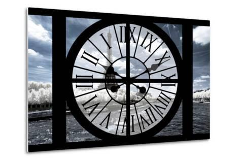 Giant Clock Window - View of the Eiffel Tower and River Seine with White Trees-Philippe Hugonnard-Metal Print
