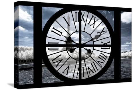 Giant Clock Window - View of the Eiffel Tower and River Seine with White Trees-Philippe Hugonnard-Stretched Canvas Print
