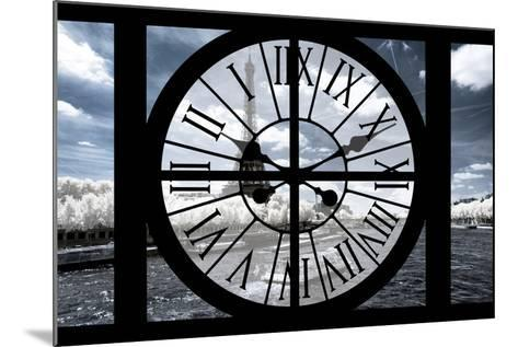 Giant Clock Window - View of the Eiffel Tower and River Seine with White Trees-Philippe Hugonnard-Mounted Photographic Print
