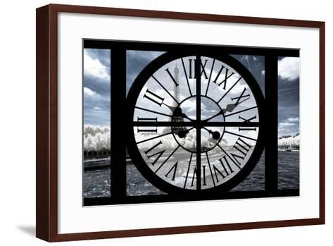 Giant Clock Window - View of the Eiffel Tower and River Seine with White Trees-Philippe Hugonnard-Framed Art Print