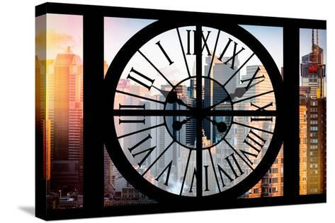 Giant Clock Window - View of the Skyscrapers of Times Square at Sunset-Philippe Hugonnard-Stretched Canvas Print
