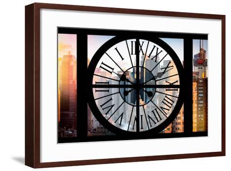 Giant Clock Window - View of the Skyscrapers of Times Square at Sunset-Philippe Hugonnard-Framed Art Print