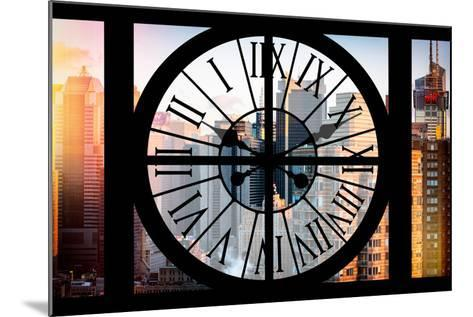 Giant Clock Window - View of the Skyscrapers of Times Square at Sunset-Philippe Hugonnard-Mounted Photographic Print
