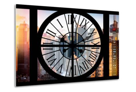 Giant Clock Window - View of the Skyscrapers of Times Square at Sunset-Philippe Hugonnard-Metal Print
