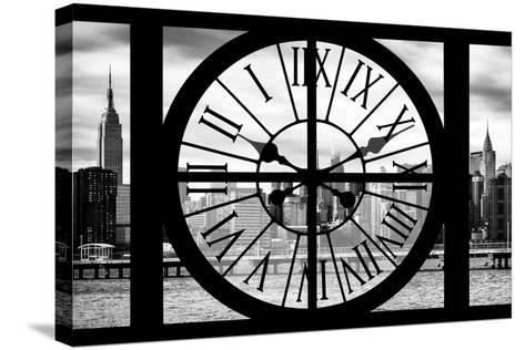 Giant Clock Window - View on the New York with Empire State Building II-Philippe Hugonnard-Stretched Canvas Print