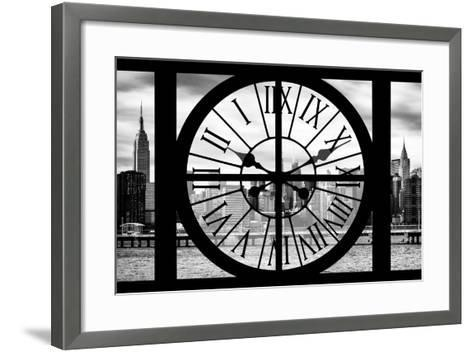 Giant Clock Window - View on the New York with Empire State Building II-Philippe Hugonnard-Framed Art Print