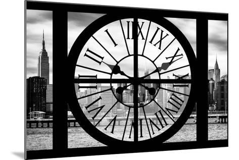 Giant Clock Window - View on the New York with Empire State Building II-Philippe Hugonnard-Mounted Photographic Print