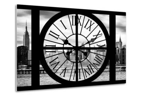Giant Clock Window - View on the New York with Empire State Building II-Philippe Hugonnard-Metal Print