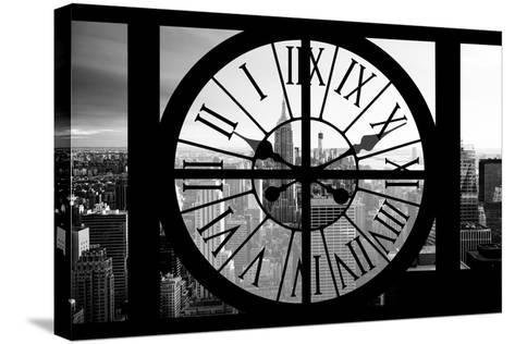 Giant Clock Window - View on the New York City - B&W Manhattan-Philippe Hugonnard-Stretched Canvas Print