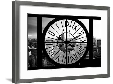 Giant Clock Window - View on the New York City - B&W Manhattan-Philippe Hugonnard-Framed Art Print