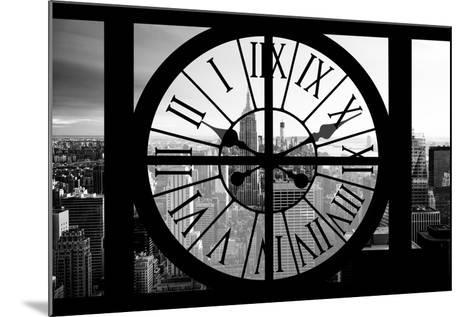 Giant Clock Window - View on the New York City - B&W Manhattan-Philippe Hugonnard-Mounted Photographic Print