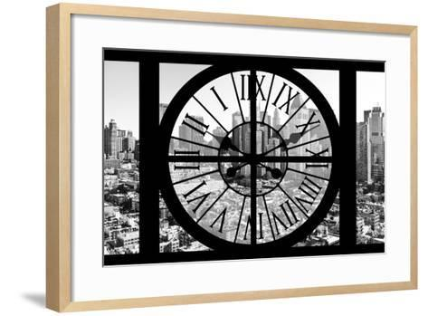 Giant Clock Window - View on the New York City - B&W Hell's Kitchen District-Philippe Hugonnard-Framed Art Print