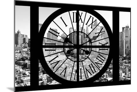 Giant Clock Window - View on the New York City - B&W Hell's Kitchen District-Philippe Hugonnard-Mounted Photographic Print