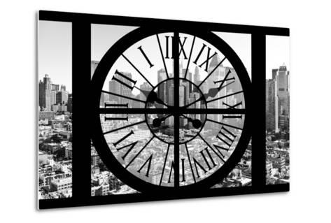 Giant Clock Window - View on the New York City - B&W Hell's Kitchen District-Philippe Hugonnard-Metal Print
