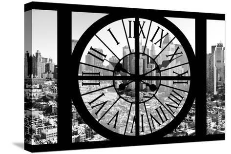 Giant Clock Window - View on the New York City - B&W Hell's Kitchen District-Philippe Hugonnard-Stretched Canvas Print