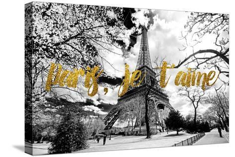 Paris Fashion Series - Paris, je t'aime - Eiffel Tower-Philippe Hugonnard-Stretched Canvas Print