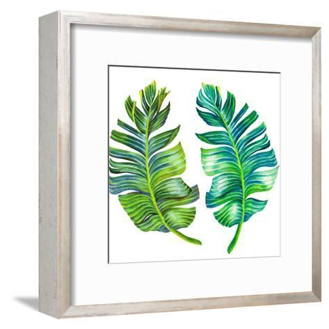Single Isolated Banana Leaf-rosapompelmo-Framed Art Print