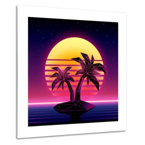 Retro Futuristic Background 1980S Style. Digital Palm Tree on a Cyber Ocean in the Computer World.-More Trendy Design here-Metal Print