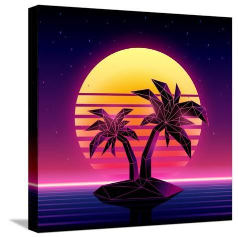 Retro Futuristic Background 1980S Style. Digital Palm Tree on a Cyber Ocean in the Computer World.-More Trendy Design here-Stretched Canvas Print