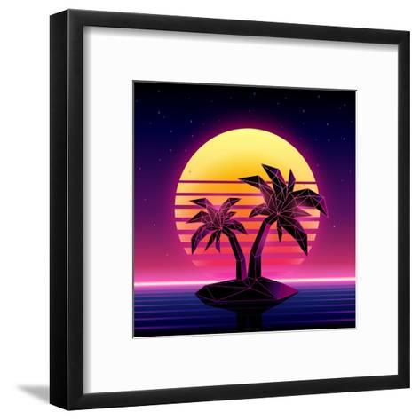 Retro Futuristic Background 1980S Style. Digital Palm Tree on a Cyber Ocean in the Computer World.-More Trendy Design here-Framed Art Print