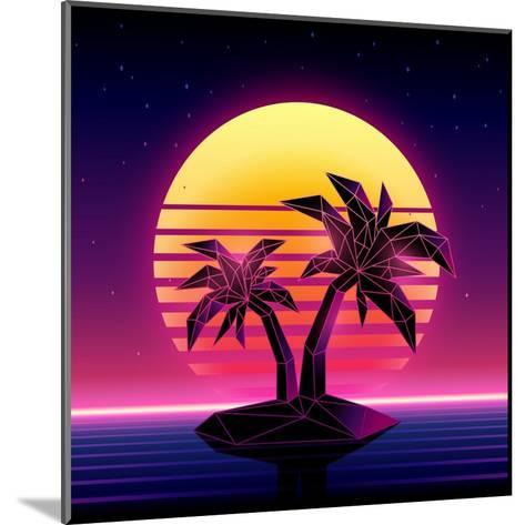 Retro Futuristic Background 1980S Style. Digital Palm Tree on a Cyber Ocean in the Computer World.-More Trendy Design here-Mounted Art Print