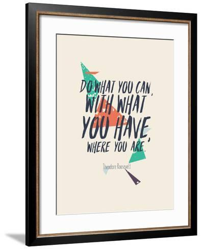 Creative Poster with Quote and Grunge Background-Vanzyst-Framed Art Print