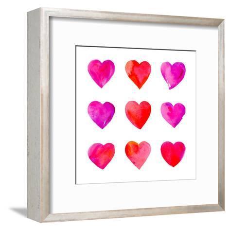 Watercolor Hearts Isolated.-Vodoleyka-Framed Art Print