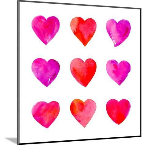 Watercolor Hearts Isolated.-Vodoleyka-Mounted Art Print