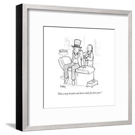 """""""Take a deep breath and don't exhale for four years."""" - Cartoon-Benjamin Schwartz-Framed Art Print"""