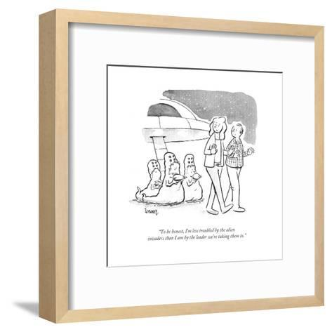 """""""To be honest, I'm less troubled by the alien invaders than I am by the le? - Cartoon-Benjamin Schwartz-Framed Art Print"""