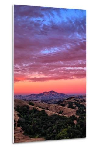 Sunset Red Skies Over Mount Diablo, Walnut Creek California-Vincent James-Metal Print